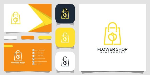 Kreativer blumenladen, tasche kombiniert mit blumenlogoentwurfsschablone