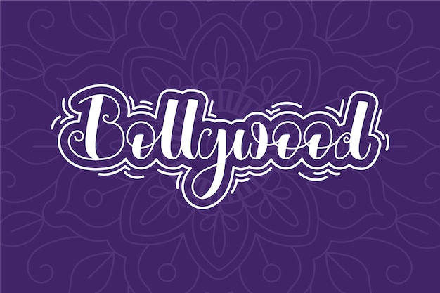 Kreativer bollywood-schriftzug mit mandala-hintergrund