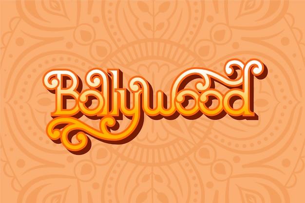 Kreativer bollywood-schriftzug mit mandala-tapete