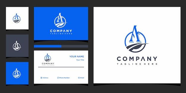 Kreativer brief ein logokonzept und visitenkartenprämie premium-vektor