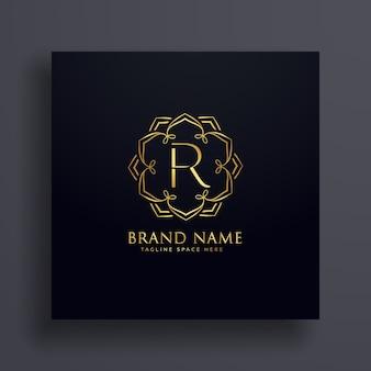Kreativer brief r premium logo design konzept
