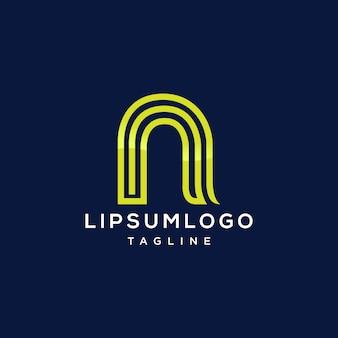 Kreativer buchstabe n logo design-vektor-vorlage lineare abstrakte alphabet logo symbol