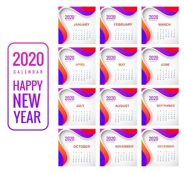Kreativer bunter hintergrund des kalenders 2020 des neuen jahres