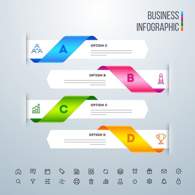 Kreativer bunter infographic pfeil mit zahlen und netzikonen