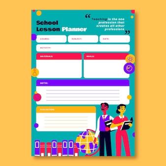 Kreativer bunter lehrertagsschulunterrichtsplan