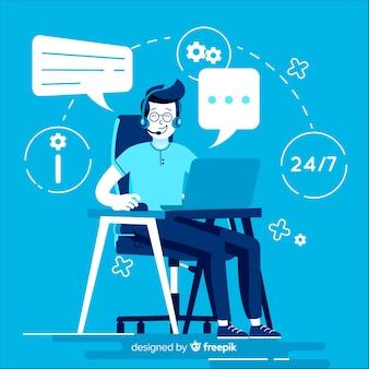 Kreativer call-center-hintergrund in der flachen art