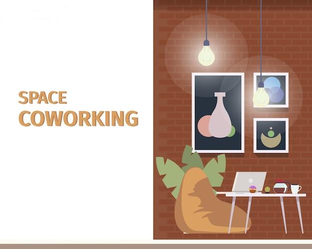 Kreativer coworking space für freiberufler