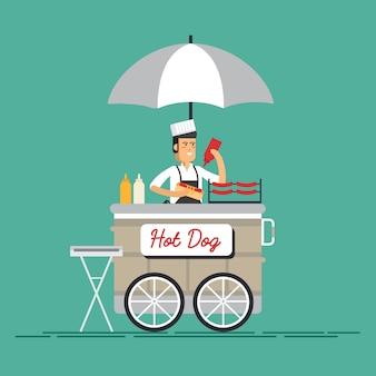 Kreativer detaillierter straßengrillwagen oder hot dog-straßenwagen mit verkäufer.
