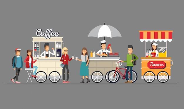 Kreativer detaillierter straßenkaffeewagen, popcorn- und hotdog-laden mit verkäufern