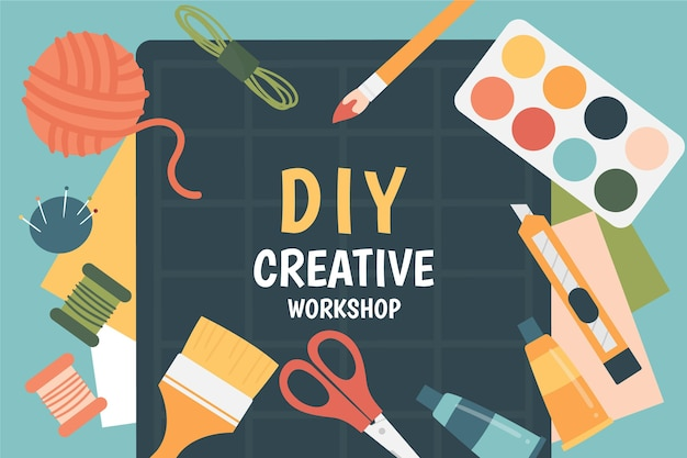 Kreativer diy-workshop illustriert
