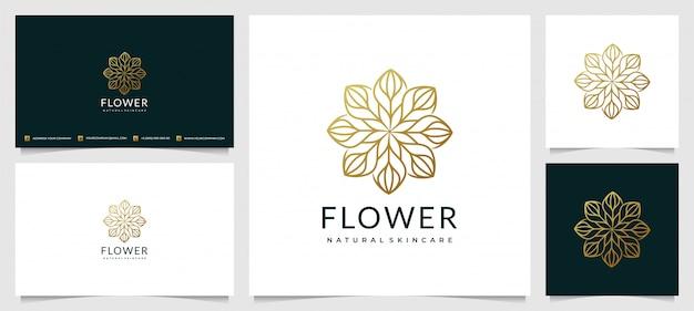 Kreativer eleganter blatt- und blumenrosen-logoentwurf für schönheit mit einfacher visitenkarte