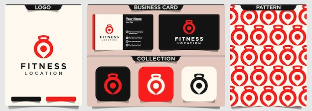 Kreativer fitness-pin-standort mit hantel-logo-design.