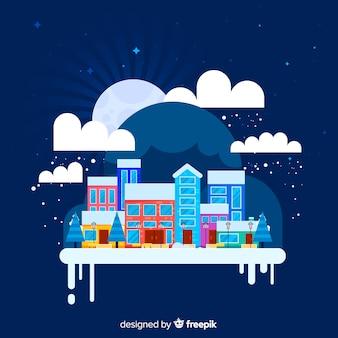 Kreativer flacher weihnachtsstadthintergrund