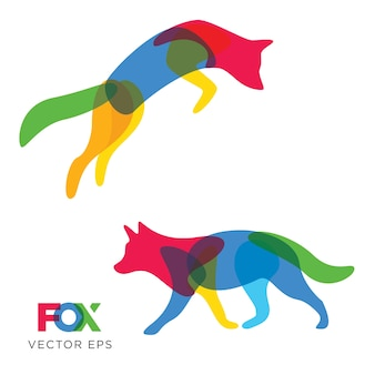 Kreativer fuchs, wolf animal design