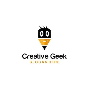 Kreativer geek logo bleistift