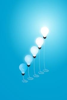 Kreativer glühbirnenballon mit wachstum auf blauem hintergrund, illustrationsvektor