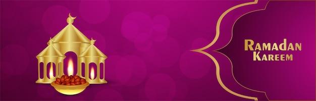 Kreativer goldener mond eid mubarak mit vektorillustration auf musterhintergrund