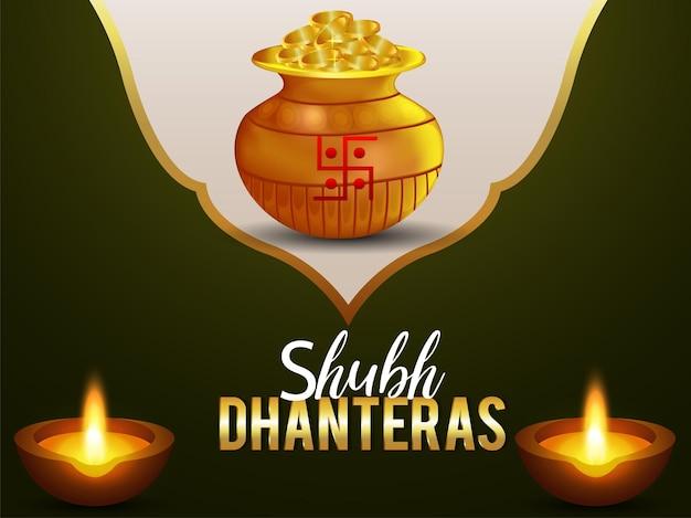 Kreativer goldmünzenkalash mit diwali diya für glückliche dhanteras