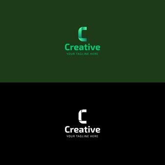 Kreativer grüner buchstabe c logo design