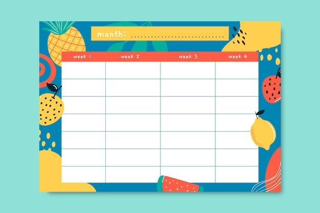 Kreativer handgezeichneter monatlicher lebensmittelkalender