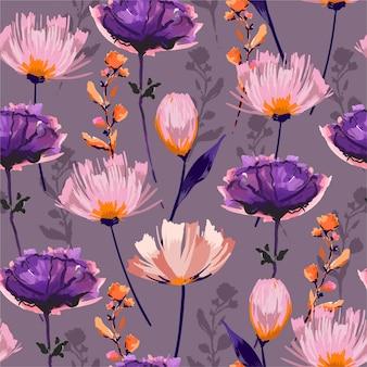 Kreativer handgezeichneter pinselstrichblumenhintergrund. nahtloses muster