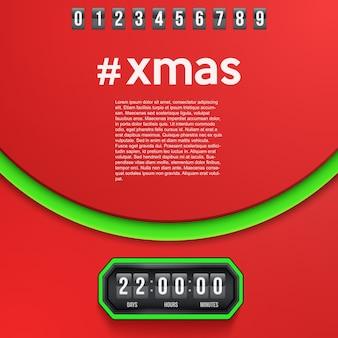 Kreativer hintergrund frohe weihnachten in kürze und countdown-timer mit ziffernbeispielen.