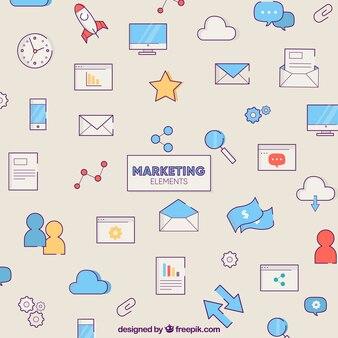 Kreativer hintergrund mit marketing-elementen