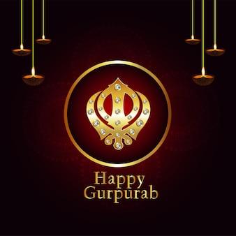 Kreativer hintergrund mit sikh-symbol ek onkar glücklichem gurpurab