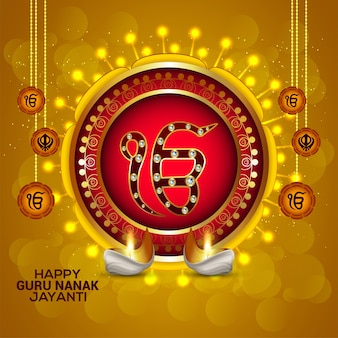 Kreativer hintergrund mit sikh-symbol ek onkar glücklicher guru nanak jayanti
