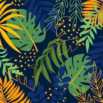 Kreativer hintergrund mit tropischen pflanzen und blättern