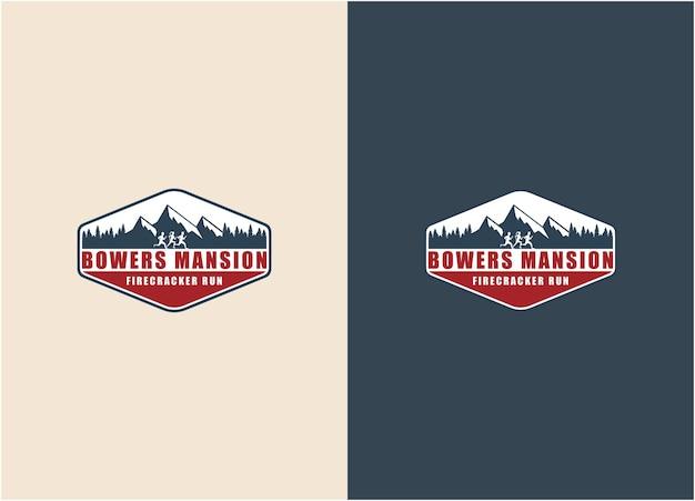Kreativer illustrationsberg mit leuten, die sport logo design vector laufen lassen
