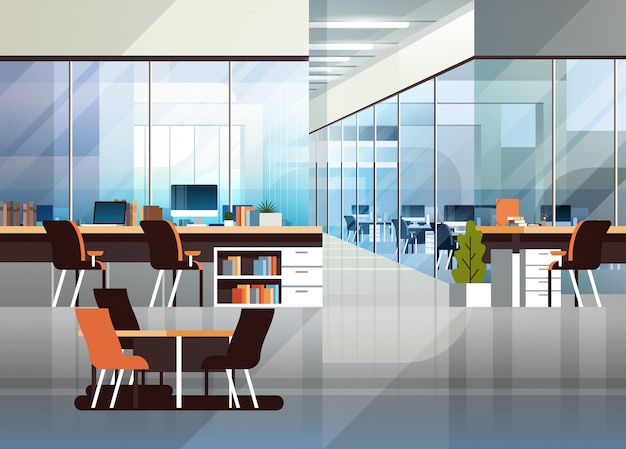 Kreativer innenarbeitsplatz der modernen mitte des coworking-büros