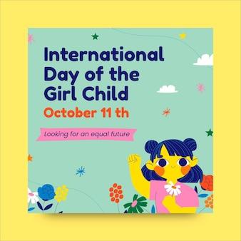Kreativer internationaler tag des mädchenkind-instagram-posts