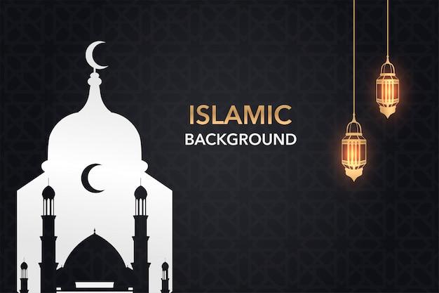 Kreativer islamischer hintergrund mit goldener laterne und moschee