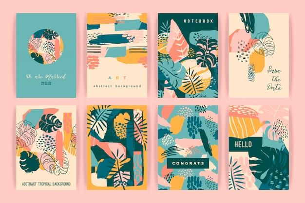 Kreativer kartensatz mit tropischen pflanzen und künstlerischem hintergrund.