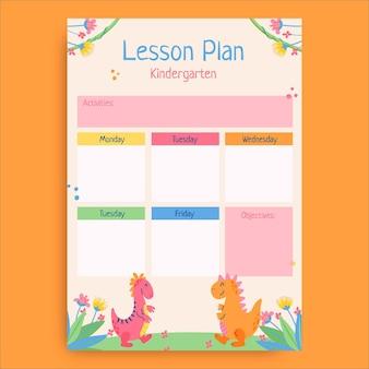 Kreativer kindlicher vorgeschichte-dinos-kindergarten-unterrichtsplan