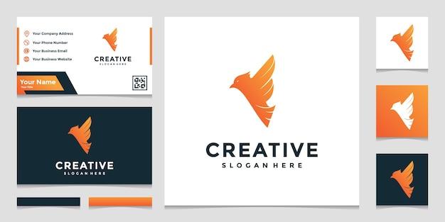 Kreativer logo-buchstabe f kombiniert mit vogel und visitenkarte