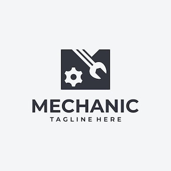 Kreativer logo-buchstabe m, für mechanik