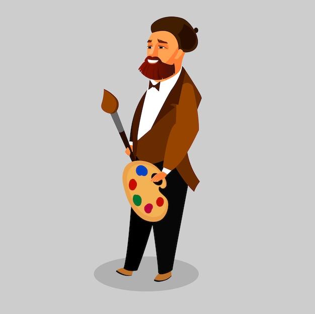 Kreativer mann mit bart in der barett-zeichentrickfilm-figur