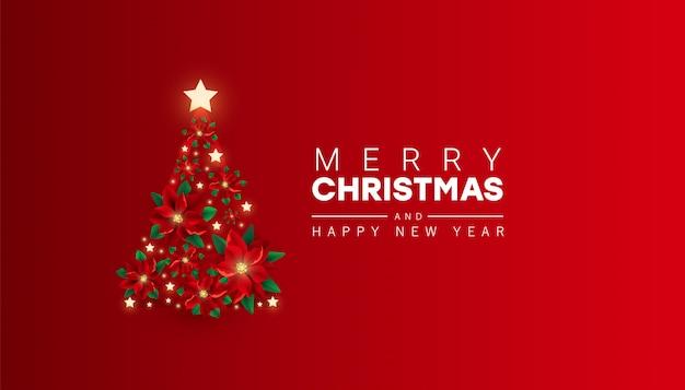 Kreativer minimaler hintergrund mit dem weihnachtsbaum, der von den roten poinsettiablumen gemacht wird