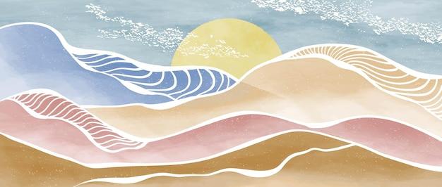 Kreativer minimalistischer moderner farb- und strichkunstdruck. abstrakte ozeanwelle und zeitgenössische ästhetische hintergrundlandschaften des berges. mit meer, skyline, welle. vektorgrafiken
