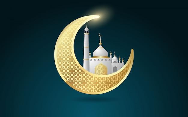Kreativer mond mit moschee für moslemisches gemeinschaftsfestival, ramadan kareem-feier