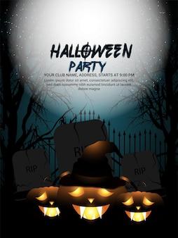 Kreativer nachthintergrund der halloween-einladungsgrußkarte
