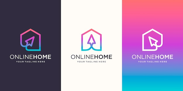 Kreativer online-shop, startseite kombiniert mit cursor-logo-designs vorlage,