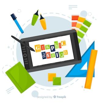 Kreativer prozess des grafikdesigns im flachen design