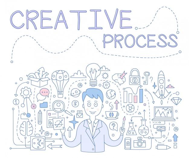 Kreativer prozess, handgezeichnete illustration
