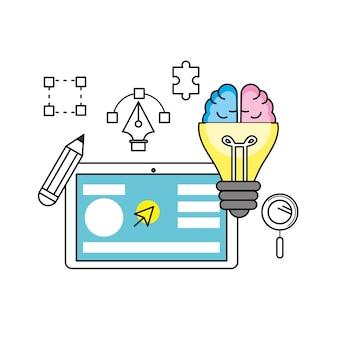 Kreativer prozess mit ideenikonen entwerfen