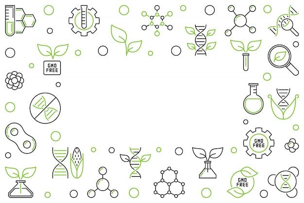 Kreativer rahmen oder illustration des horizontalen entwurfs des gmo-freien konzeptvektors