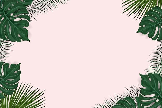 Kreativer rahmenplan vom tropischen hintergrund mit den exotischen palmblättern und anlagen lokalisiert auf rosa hintergrund, ebenenlage. natur-konzept