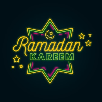 Kreativer ramadan-schriftzug auf neonstil